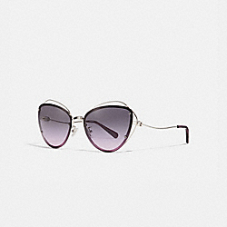 COACH L1037 - OPEN WIRE CAT EYE SUNGLASSES SILVER/PURPLE GRADIENT