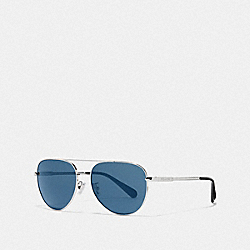 COACH L1055 Cooper Pilot Sunglasses SHINY GUNMETAL/BLUE FLASH
