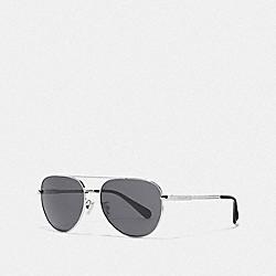 COACH L1055 Cooper Pilot Sunglasses SILVER/DK GREY SOLID