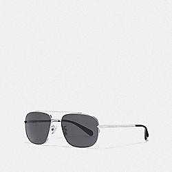 COACH L1056 Eli Navigator Sunglasses SILVER/DK GREY SOLID