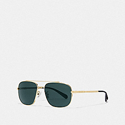 COACH L1056 Eli Navigator Sunglasses GOLD/GREEN SOLID