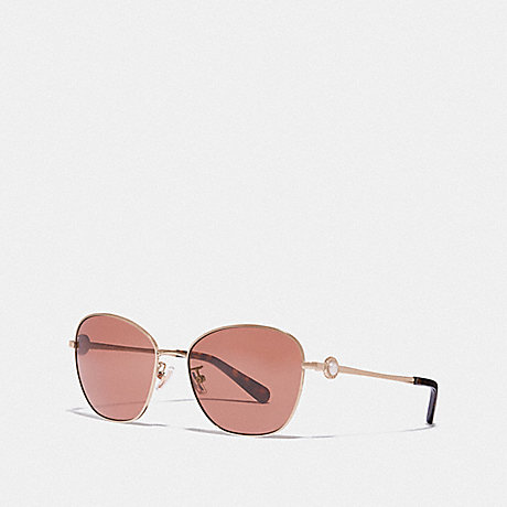 COACH L1070 GIA BUTTERFLY SUNGLASSES /SHINY LIGHT GOLD/BROWN SOLID