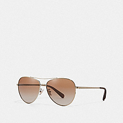 COACH L1085 - RYAN JEWELED PILOT SUNGLASSES SHINY ROSE GOLD/BROWN