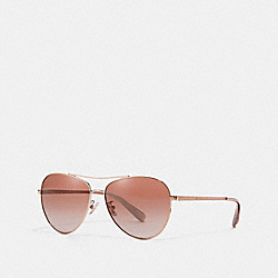 COACH L1085 - RYAN JEWELED PILOT SUNGLASSES SHINY ROSE GOLD/BROWN PINK