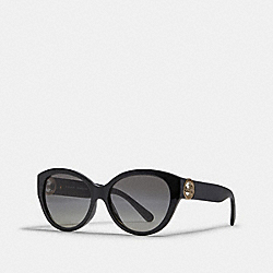 COACH L1117 Oversized Metal Cat Eye Sunglasses BLACK