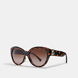 COACH L1117 - OVERSIZED METAL CAT EYE SUNGLASSES DARK TORTOISE