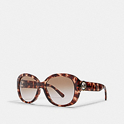 COACH L1118 - OVERSIZED METAL SOFT SQUARE SUNGLASSES PINK TORTIOSE