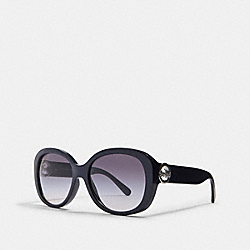 COACH L1118 Oversized Metal Soft Square Sunglasses TRANSPARENT NAVY
