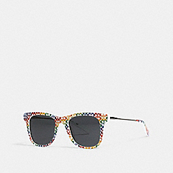 RAINBOW METAL SQUARE SUNGLASSES - L1157 - MULTI