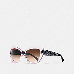 COACH L120 Signature Spray Cat-eye Sunglasses PINK CRYSTAL/BLACK