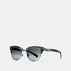 COACH L1606 - CARTER SUNGLASSES BLUE IVORY HORN/SILVER GREY GRADIENT MIRROR
