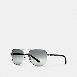 COACH L1660 Lou Pilot Sunglasses SILVER/BLACK