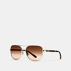 COACH L1660 Lou Pilot Sunglasses LIGHT GOLD