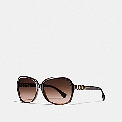 COACH L555 - ASIA FIT WHIPLASH SQUARE SUNGLASSES DARK TORTOISE