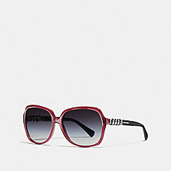 COACH L555 Asia Fit Whiplash Square Sunglasses MILKY BLACK CHERRY/BLACK