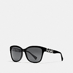 COACH L556 Asia Fit Whiplash Wayfarer Sunglasses BLACK