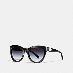 COACH L557 Asia Fit Edie Cat Eye Sunglasses BLACK