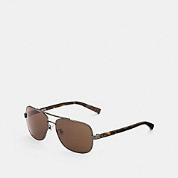 COACH L600 Bleecker Sunglasses GUNMETAL/DARK TORTOISE