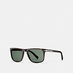 COACH TAG TEMPLE SQUARE SUNGLASSES - MATTE DARK TORTOISE - L612