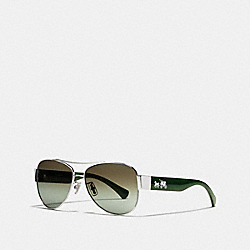 COACH L944 Olivia Sunglasses SILVER/GREEN CRYSTAL