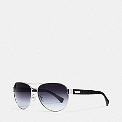 COACH L947 Curbchain Aviator Sunglasses SILVER/BLACK