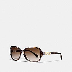 COACH L949 Kissing C Rectangle Sunglasses DARK TORTOISE