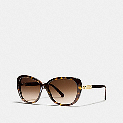 COACH L953 Hang Tag Chain Cat Eye Sunglasses DARK TORTOISE