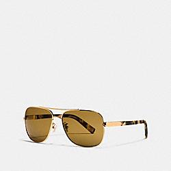 COACH LP617 Tag Temple Navigator Sunglasses GLD/MATTE DK VIN TORT