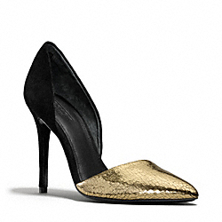 COACH HOLLIS HEEL - GOLD/BLACK - Q3182