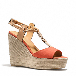 COACH Q6057 Leah Wedge PAPAYA/NATURAL