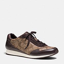 COACH Q6735 Rebecca Sneaker KHAKI/CHESTNUT