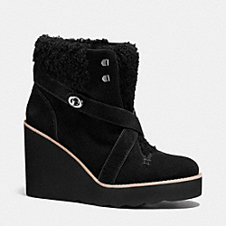 COACH Q7933 Kenna Shearling Wedge Bootie BLACK/BLACK