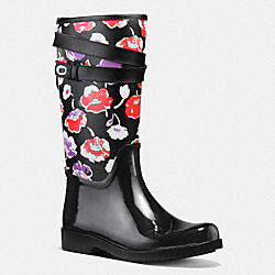 COACH Q8010 Trisha Rainboot BLACK/BLACK MULTI
