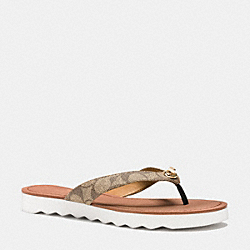 COACH Q8144 Shelly Sandal KHAKI/CHESTNUT