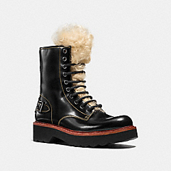 COACH MOTO HIKER BOOT WITH SHEARLING - BLACK - Q8803