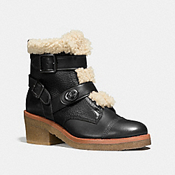 COACH Q8868 Preston Bootie BLACK/NATURAL
