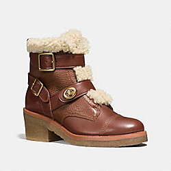 COACH Q8868 Preston Bootie DARK SADDLE/NATURAL