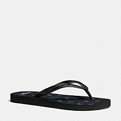 COACH Q9149 Cleo Flip Flop BLACK LAPIS