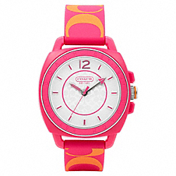 COACH W1000 Boyfriend Printed Rubber Strap Watch PINK/ORANGE