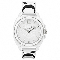COACH W1000 Boyfriend Printed Rubber Strap WHITE/BLACK
