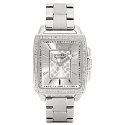 COACH W1005 Boyfriend Crystal Square Stainless Steel Bracelet Watch