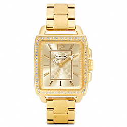 COACH W1006 Boyfriend Crystal Square Gold Plated Bracelet Watch