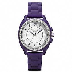 COACH W1024 Boyfriend Crystal Stainless Steel Rubber Strap PLUM