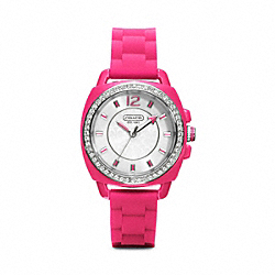 COACH W1024 Boyfriend Crystal Stainless Steel Rubber Strap Watch