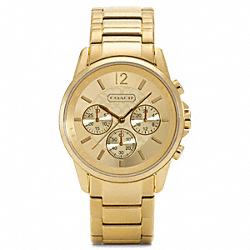 COACH W1070 Signature Chrono Gold Plated Bracelet Watch