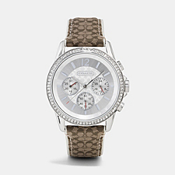 COACH W1087 - CLASSIC SIGNATURE CHRONO CRYSTAL STAINLESS STEEL STRAP WATCH  KHAKI/MAHOGANY