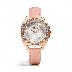 COACH W1132 - MINI BOYFRIEND ROSEGOLD PLATED CRYSTAL STRAP WATCH ONE-COLOR