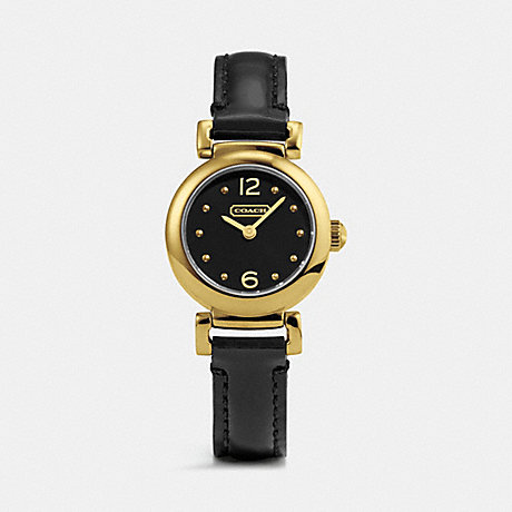 COACH W1155 MADISON GOLD PLATED LEATHER STRAP WATCH BLACK