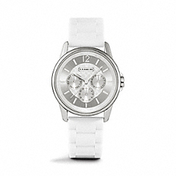 COACH W1204 - CLASSIC SIGNATURE SPORT STAINLESS STEEL RUBBER STRAP WHITE