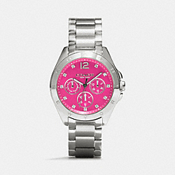 COACH W1206 - TRISTEN STAINLESS STEEL COLOR DIAL BRACELET FUCHSIA